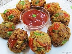 Spicy Jingle Balls , Bread and Bell Pepper Balls