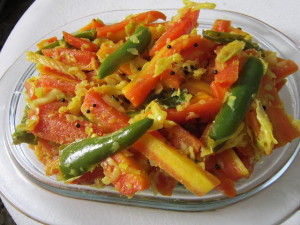 Gajar Mirch ka Kachumbar ,Stir Fried Carrots
