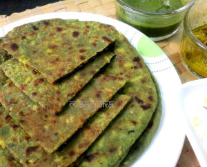 Palak and Moong Sprout Paratha