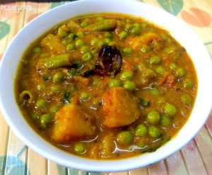 Aloo Matar ki Subzi (Potato and Green Pea Curry)