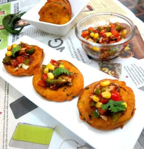 Beguni with Tangy Salsa Topping , Baigan Pakora