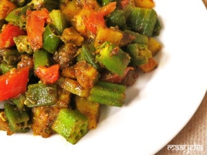 Bhindi Aloo ki sabzi  ,Okra and Potato fry