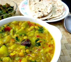 Lauki Chana Daal Subzi ,Bottle gourd cooked with lentils