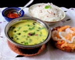 Gujarati Bhinda ki Kadhi / Okra and Yogurt Stew
