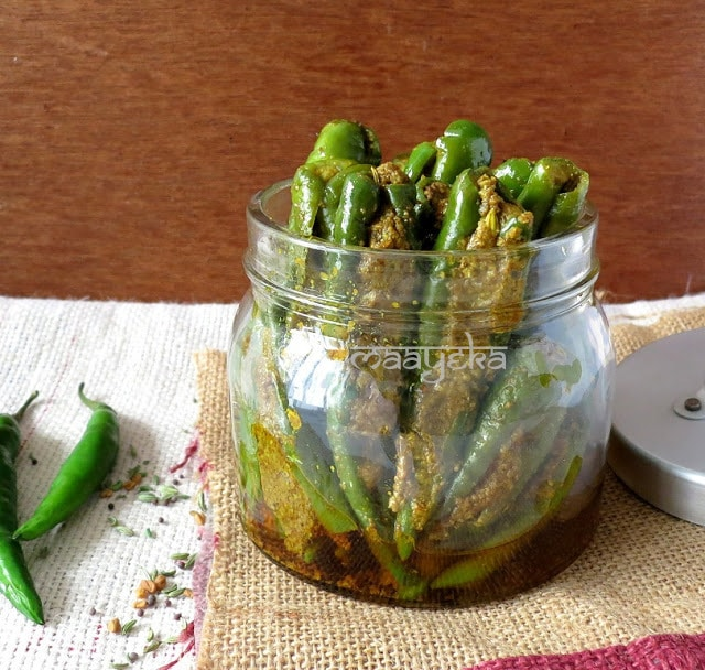 stuffed green chili pickle