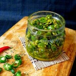 Tangy Green Chili Pickle-Maharashtrian style