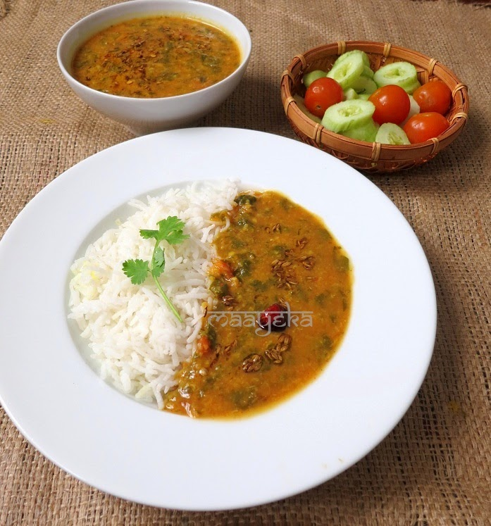 healthy moong daal cooked with red amarnanth leaves