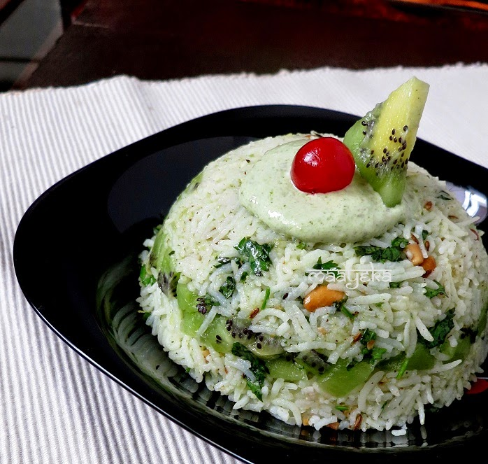 tangy coriander and kiwi rice