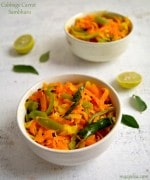 Carrot and Cabbage Sambharo,Stir fried Cabbage and Carrots