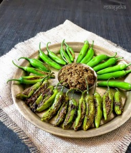 Stuffed Green Chilies / Bharwa Mirch Ki Subzi