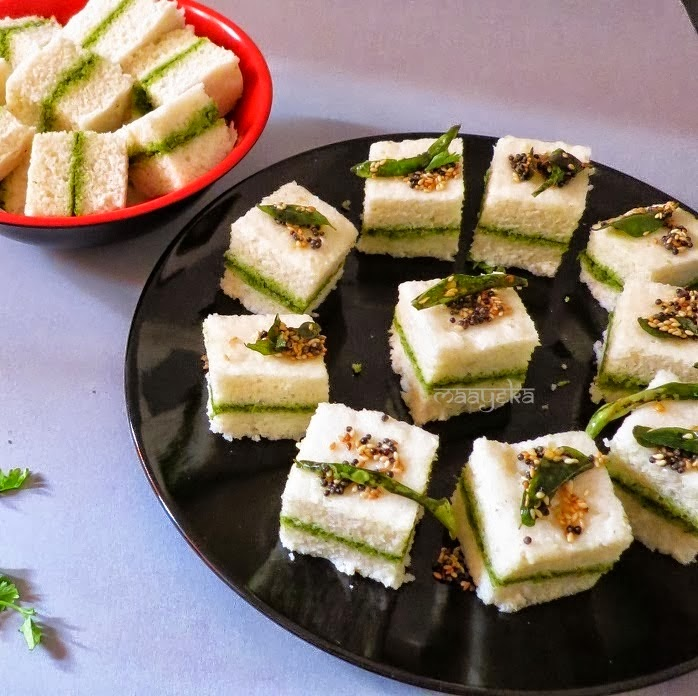 how to make sandwich dhokla