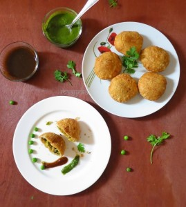Matar Paneer Kachori / Crispy Cheese and Peas Shells