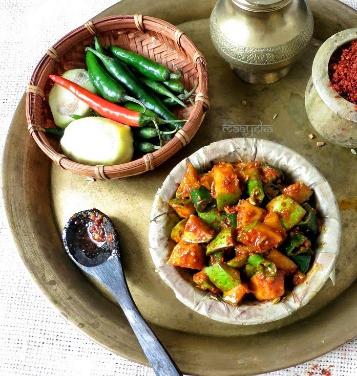 How to make indian style chili and raw mango pickle