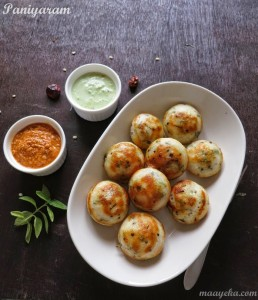 Kuzhi Paniyaram / Appe / Punugulu (Crispy dumplings made from leftover Idli batter)