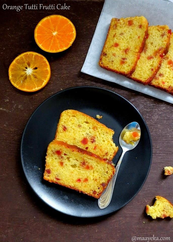 eggless orange and tutti frutti cake
