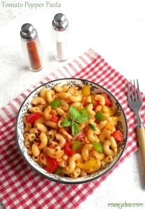 Tomato Pepper Pasta ,Quick Tossed Tomato Pasta Recipe