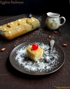 Eggless Coconut Basbousa Recipe
