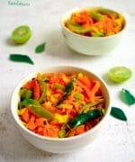 Carrot Sambharo,Stir fried Cabbage and Carrots