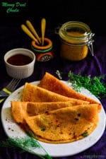 Moong Daal Cheela Stuffed With Paneer, Stuffed Lentil Pancakes