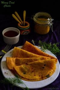 Moong Daal and Paneer Cheela Recipe, Stuffed Lentil Pancakes