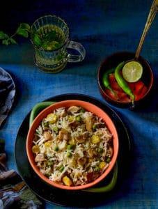 Mushroom Matar Pulao Recipe