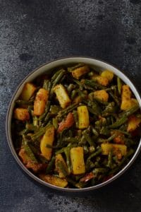 Lobhia Phali Aloo Sabzi, Long Beans Potato Curry