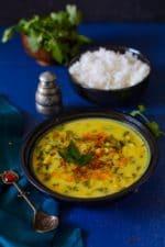 Corn Methi Kadhi, Fresh fenugreek and Corn kadi