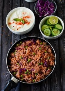 Purple Cabbage Rice Recipe , Red Cabbage Pulav