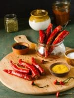Stuffed Red Chili Pickle,Bharwa Laal Mirch Ka Achar