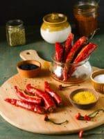 Stuffed Red Chili Pickle,Bharwa Laal Mirch Ka Achar